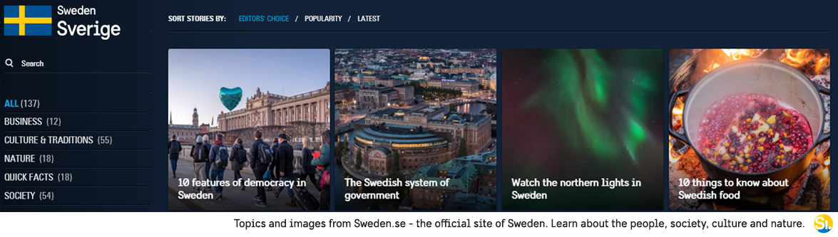 Topics and images from Sweden.se - the official site of Sweden. Learn about the people, society, culture and nature.